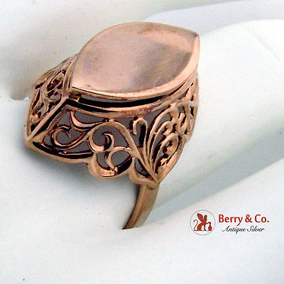 Ornate Openwork Signet Ring Russian Soviet 14K Rose Gold