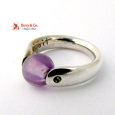 Amethyst Ring Sterling Silver Signed Tipit