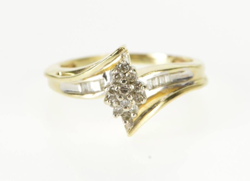 10K Pointed Oval Cluster Baguette Accent Freeform Ring Size 7 Yellow Gold *30