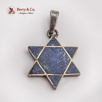 Star Of David Lapis Lazuli Inlay Pendant 950 Sterling Silver