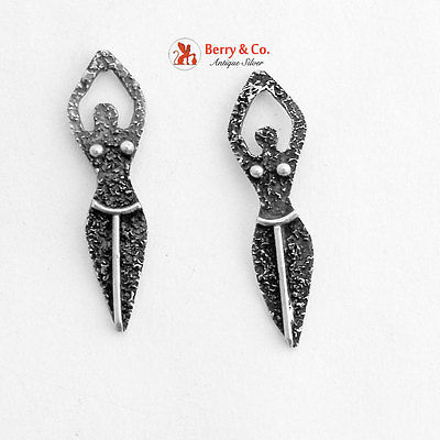 Figural Female Body Earrings Sterling Silver