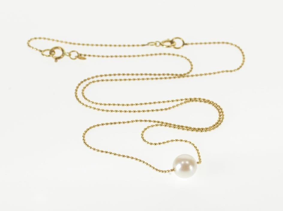 14K Pearl Beaded Dot Ball Link Fancy Chain Necklace 18.1
