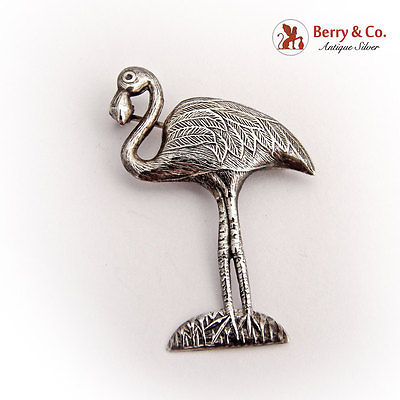 Vintage Flamingo Brooch Sterling Silver