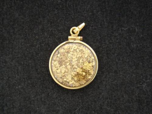 Gold Nugget Flakes in Gold Filled Casing Pendant for Necklace 112916A
