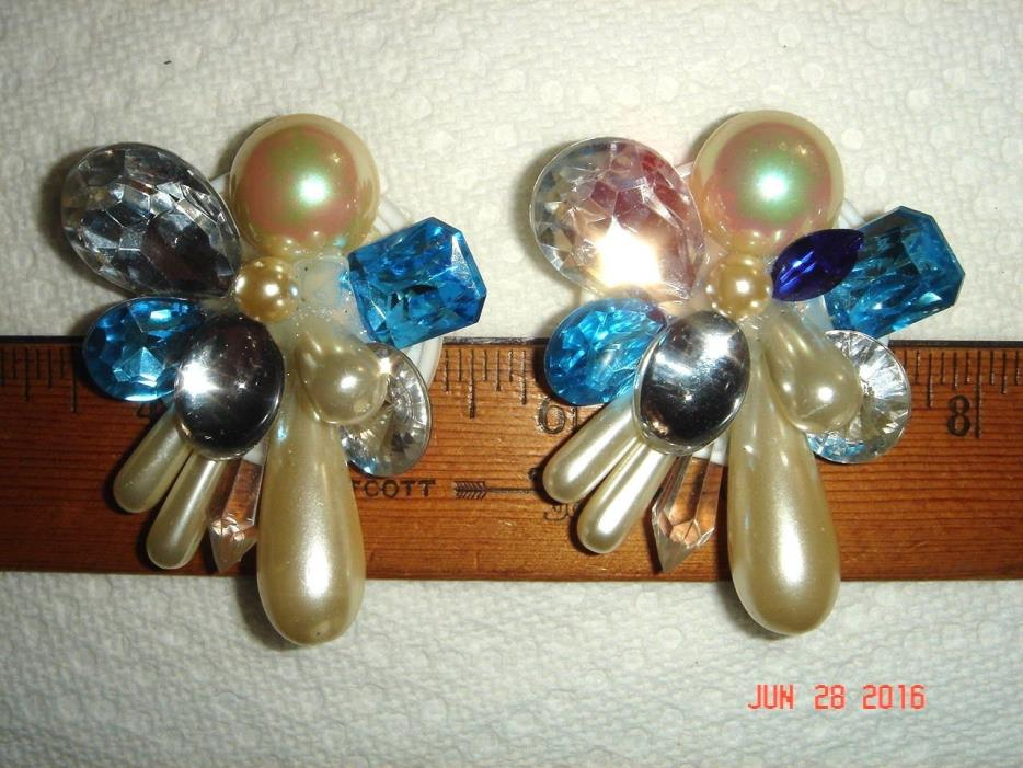 VTG ATOMIC DISCO PUNK GLAM DANCE DIVA QUEEN 1970s FUNKY ARTSY HUGE CLIP EARRINGS