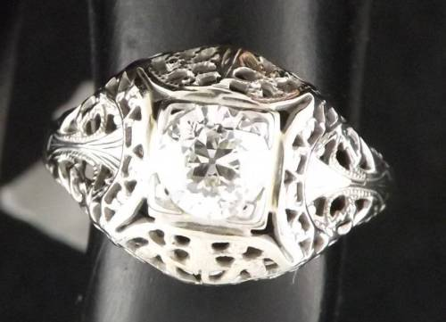 14K Diamond White Gold Fillagree Ring 1899 Art Noveau Vintage Engagement sz 4.5
