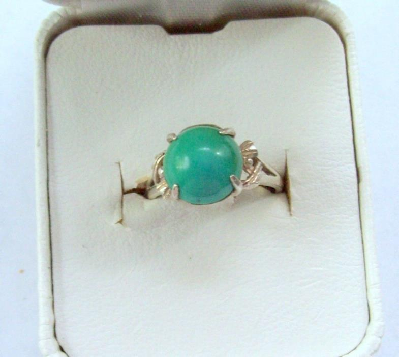 Vintage Sterling Silver with Turquoise Blue Round Cabochon Ring - Size 6.25