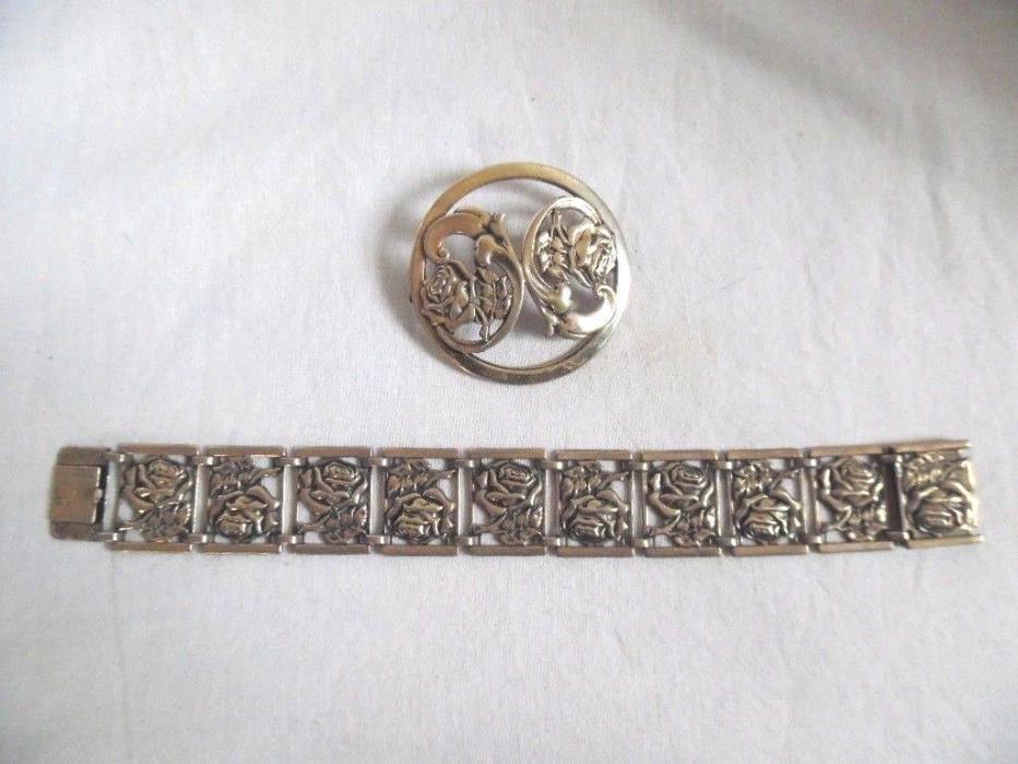 Vintage Roses Sterling Silver Brooch & Bracelet