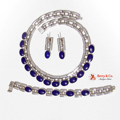 Hand Made Necklace Earrings Bracelet 950 Sterling Royal Blue Cabochon Stones