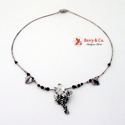 Grape Vine Beaded Necklace Sterling Silver Garnet