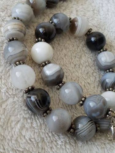 Vintage Banded Agate Bead Sterling Silver Necklace Black Grey White