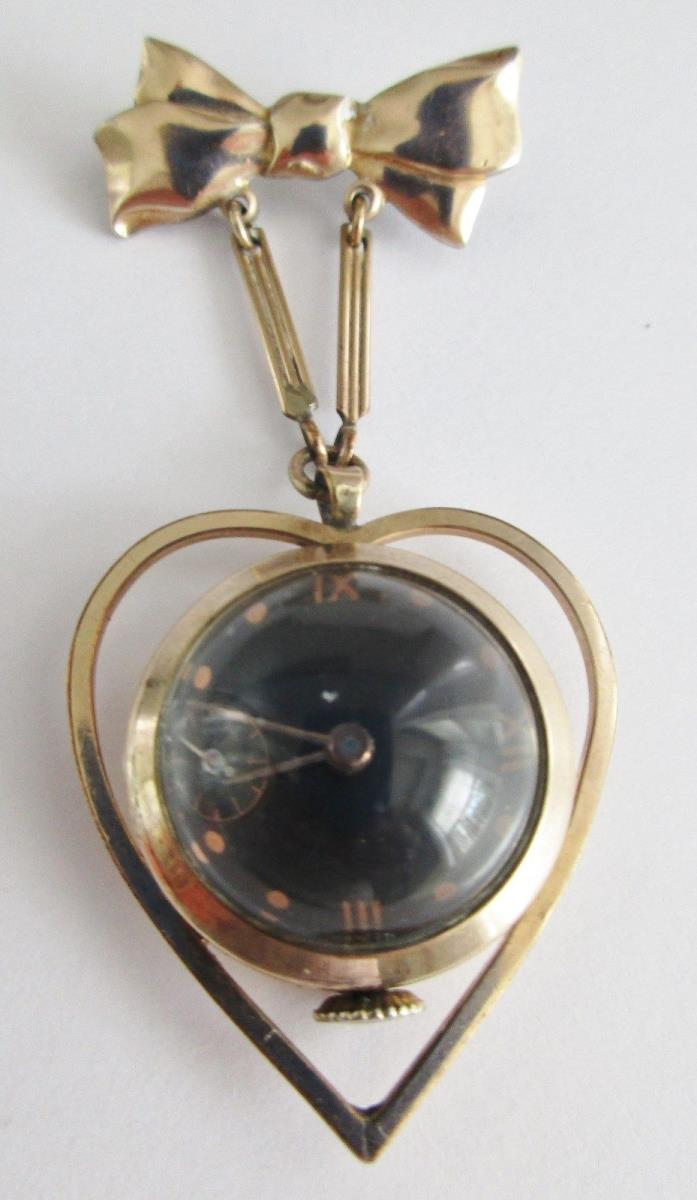 VTG 1/20 12K GF OVER STERLING 7 JEWEL DOMED LADIES LAPEL WATCH CRYSLER CO WORKS