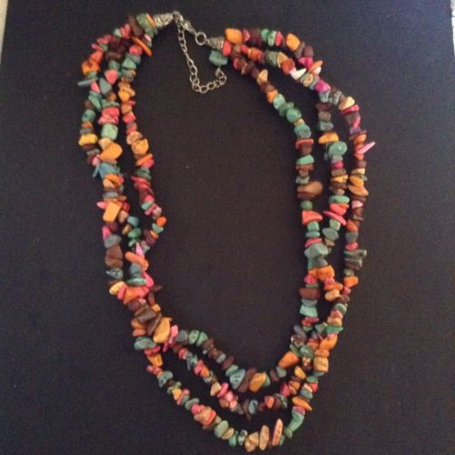 Triple strand colored polished rock necklace. turquoise?