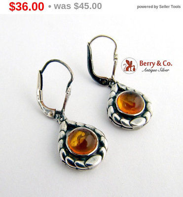 SaLe! sALe! Dangle Drop Amber Earrings 835 Silver