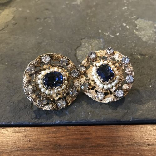 Gorgeous Faux Sapphire Seed Pearl Victorian Revival Earrings Accessorcraft Rare