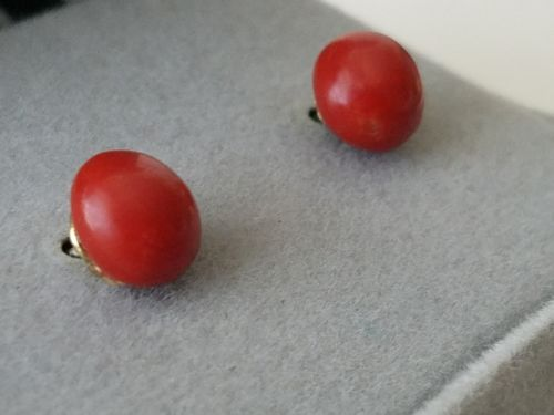 Chinese Red Coral Sterling Silver Pierced Earrings