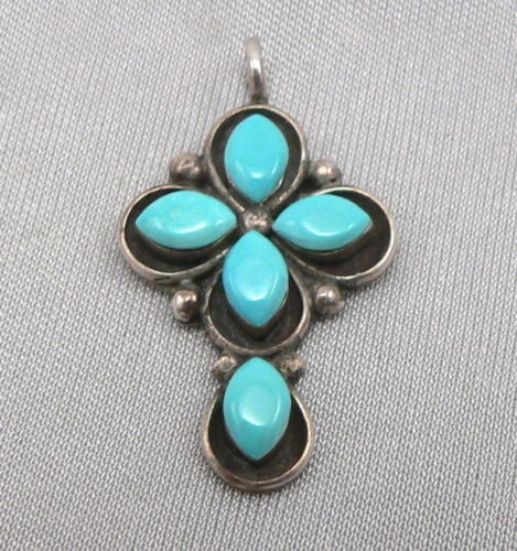 Vintage SILVER & TURQUOISE Small CROSS Pendant 1.8 Grams Estate
