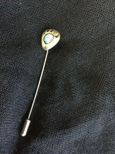 Vintage American Indian Bear Claw Turquoise Sterling Silver Stick Pin 2 3/4