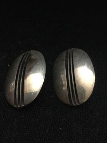 Vintage Large 925 Sterling Silver Signed Y Designer Clip Earrings Linear Oval