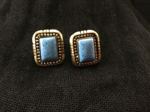 Beautiful Vintage Blue Agate Sterling Silver Pierced Earrings 12k GF Signed S.E.