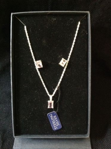 Estate Sterling Silver & Amethyst boxed pendant necklace & stud earring set