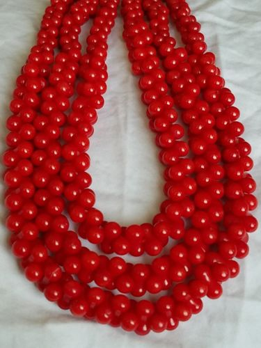 ESTATE Red Coral Multi-Strand Graduated Sterling Silver Necklace 127g - 22