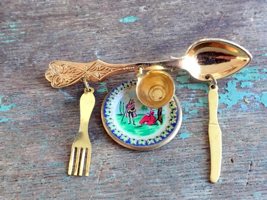 Vintage Coro Signed Charm Brooch Spoon plate Knife Fork Brass enamel