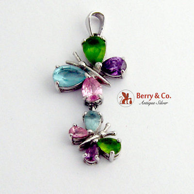 SaLe! sALe! Multi Colored Gem Butterfly Sterling Silver Two Butterflies