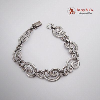 Vintage Scroll Link Bracelet Sterling Silver 1940