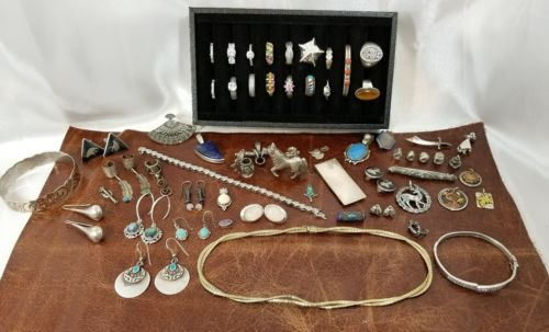 Estate 383Gr 60Pc Sterling 14k & 12k Jewelry Lot NO SCRAP