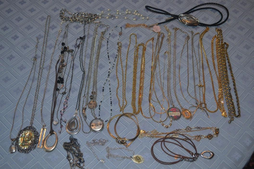 Lot 4- 35 Pieces Necklaces and Chains Costume Jewelry