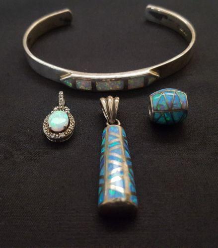 Sterling silver pendants cuff opals