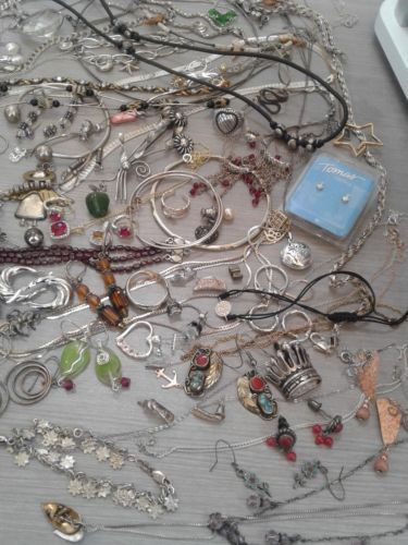 620 g sterling silver lot jewelry. pre owned condition. stones, beads, vintage+