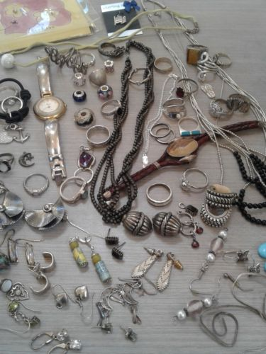 395 g sterling silver lot jewelry. pre owned condition. stones, beads, vintage+
