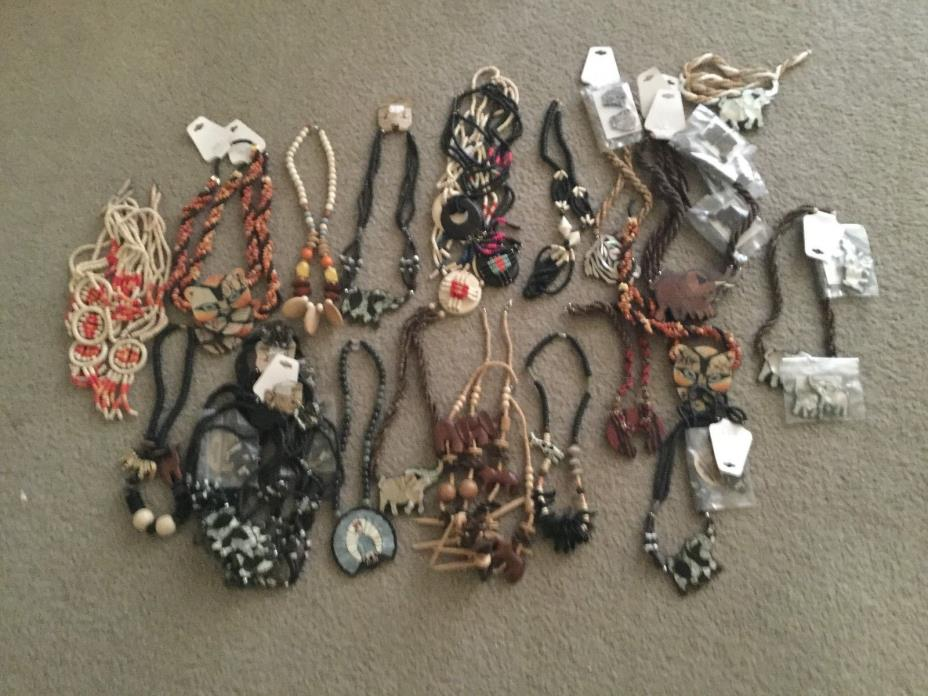 LOT of wood new Jewelry 100 in the lot African animals necklaces, earring
