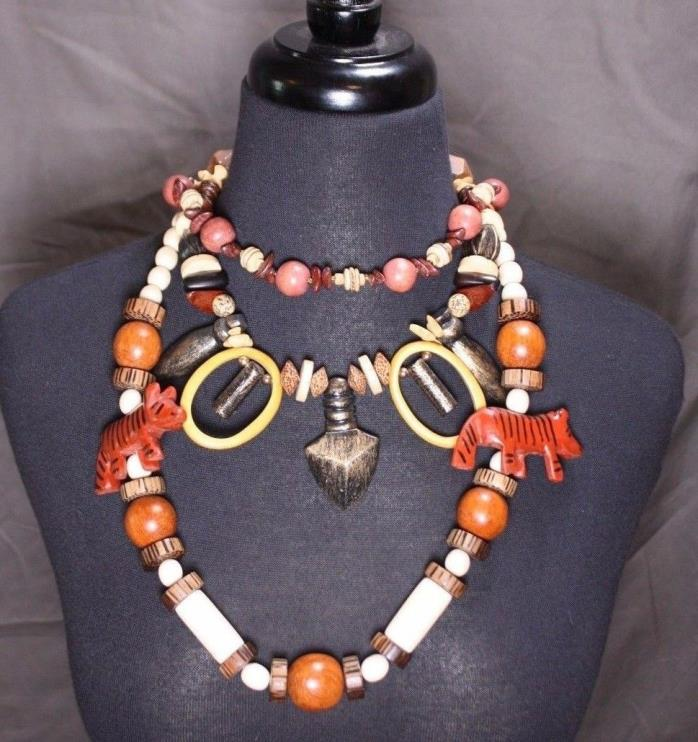 Lot 3 Carved Vtg Wood Necklaces Collection Safari Tribal Outdoors Rustic Layers