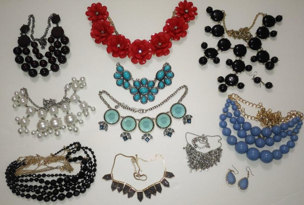 Lot of 10 Bubble, Bibb, Various Necklaces & Earrings