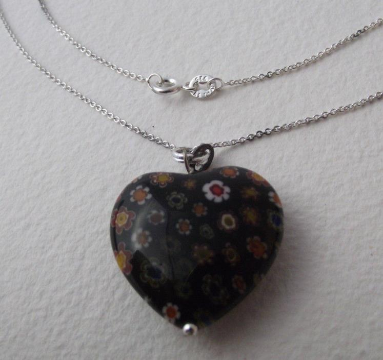MURANO Style MILLEFIORI Black GLASS HEART PENDANT WITH STERLING SILVER NECKLACE