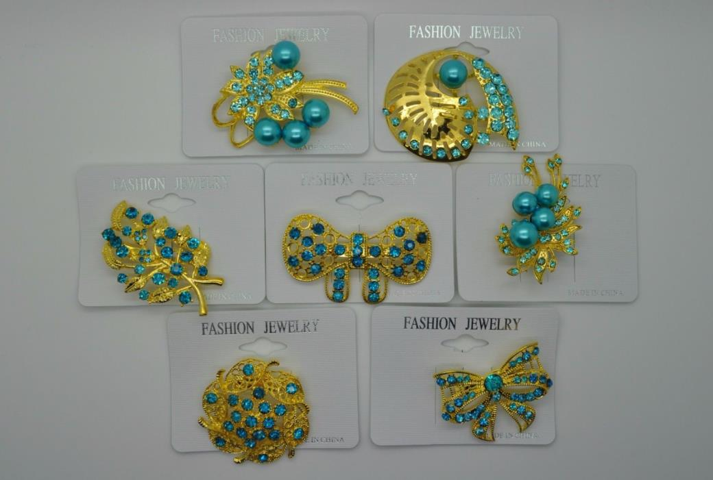 Wholesale Lot 7 Pins Vintage Style wedding  Brooches g/blue color bouquet  #EWR
