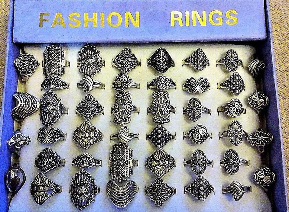 44 Mix Lot Women's Antique Fashion Stainless Steel Rings with Ring Box - SZ. 5-8
