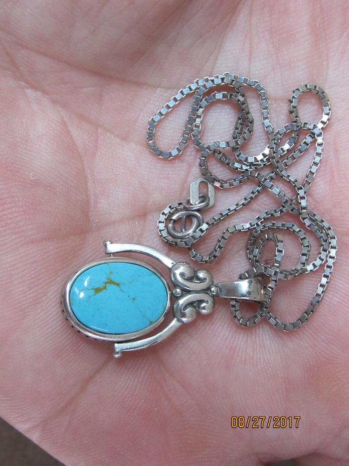 2 sided sterling silver necklace & chain 925 natural Turquoise