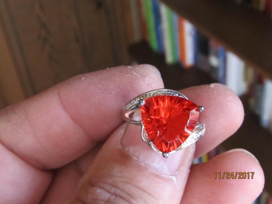 Beautiful Sterling silver ring,,marked 925'''''' orange