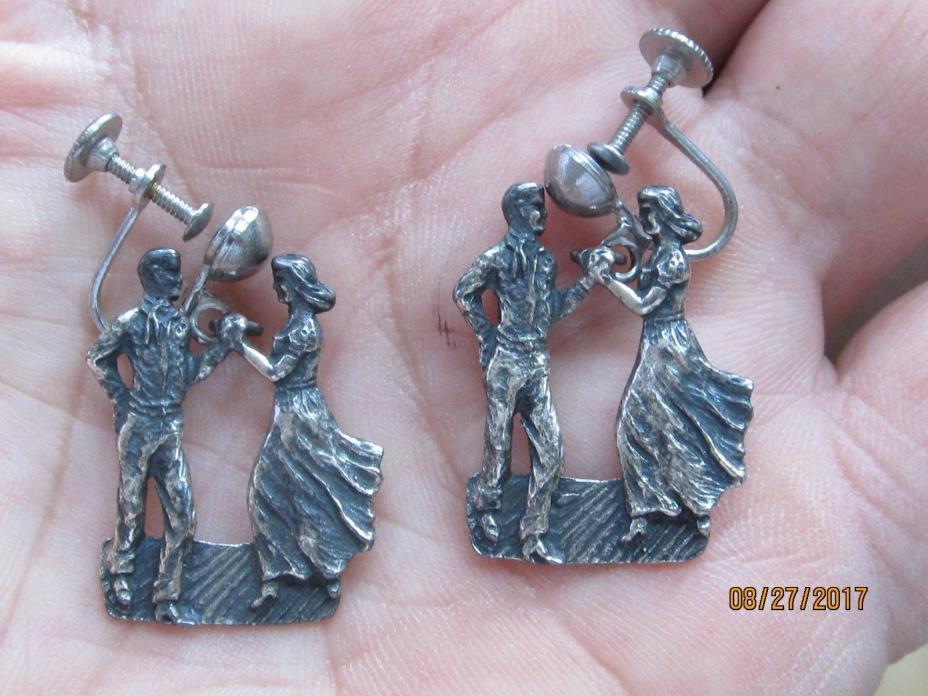 Vintage earings of dancing couple, sterling silver 8.6 grams