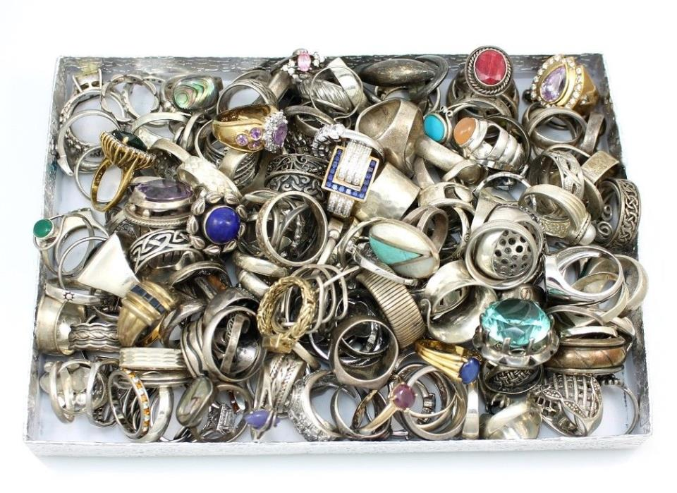 Large Sterling Silver 925 Ring Lot 160 Rings 750 Grams