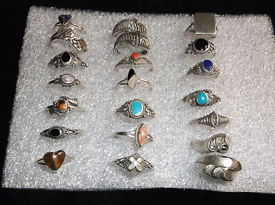21 assorted solid sterling silver rings, assorted sizes, 5 to 7.5, Mexico,