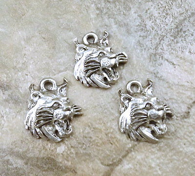 Set of 3 Pewter WILDCAT HEAD Charms -  5274