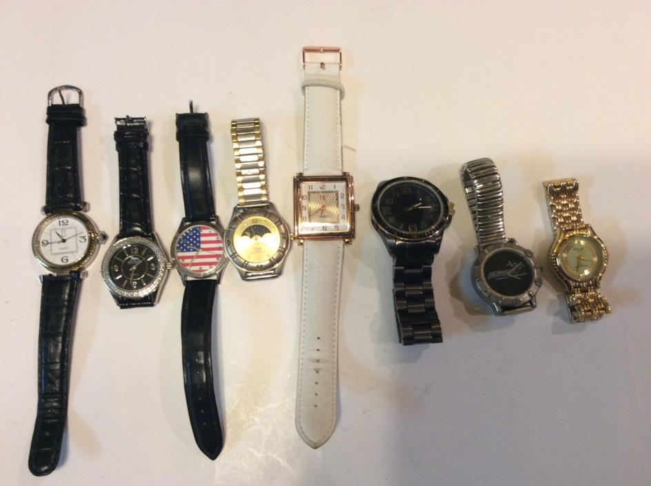 Lot of 8 unisex watches,sold for parts or repair and as-is,a great find     T197