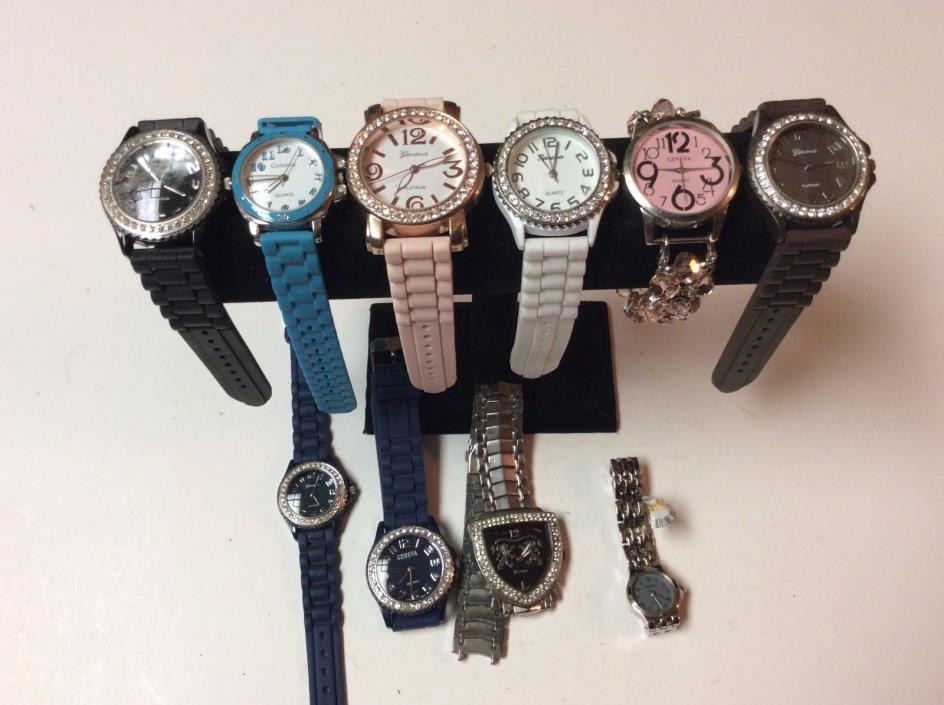 Lot of 10 Geneva womens watches,most if not all intact,sold as-is           T445