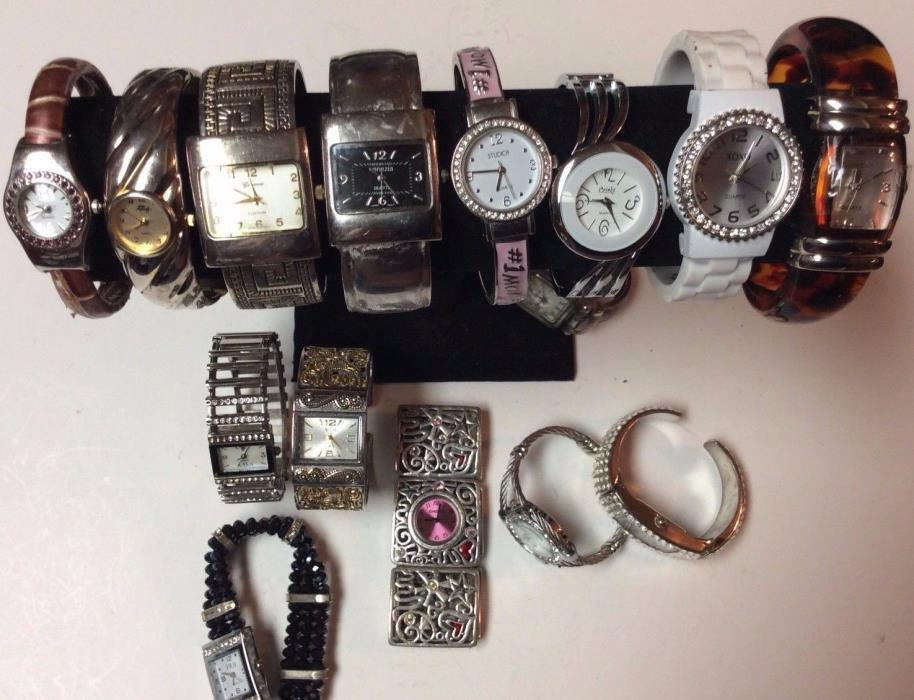 Lot of 15 brand name bracelet watches,rare in as-is lot,sold parts/repair   T461