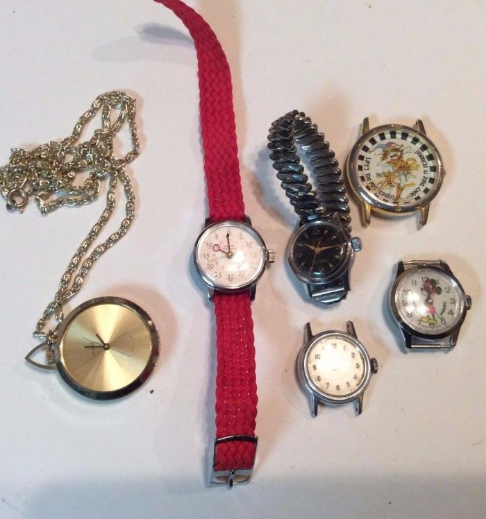 Lot of 6 mostly mechanical women watches,1 quartz, as-is,repair or parts,   T401
